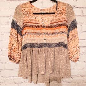 UO Ecote Orange Aztec Print Blouse